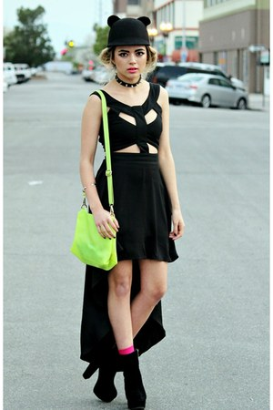chartreuse neon Choies bag - black cut out asos dress - black cat romwe hat