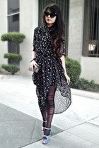 black stars dress - black tights - black sunglasses - sky blue wedges