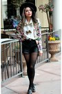 Black-thrift-hat-violet-floral-persunmall-blazer-black-leather-romwe-shorts