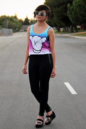 black pleather victorias secret pink leggings - sky blue tie dye fresh tops top