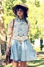 Light-blue-denim-pacsun-dress-brown-ombre-romwe-sunglasses