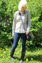 Bootlegger purse - lark and wolf blouse - Only jeans - Old Navy boots
