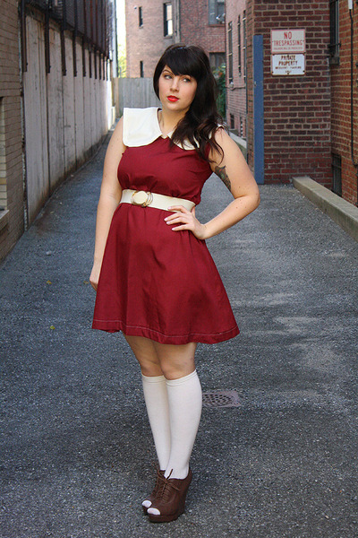 white socks - maroon tent dress handmade by me dress - white vintage belt