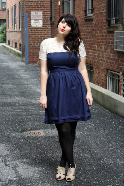 navy dress - black tights - nude heels