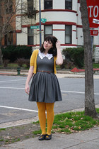gray chevron print dress - mustard tights - mustard short sleeve cardigan