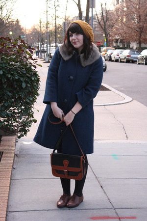 navy vintage coat - dark brown lace up oxfords shoes