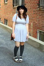 heather gray jersey dress - black felt hat - charcoal gray knee high socks