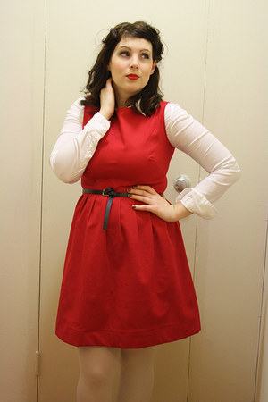 red handmade dress - periwinkle clogs Sweedish Hasbeen boots - white shirt