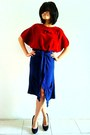 Brick-red-vintage-top-navy-random-cardigan-black-suede-zara-heels