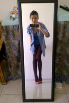 blue Topshop top - sky blue denim vintage shirt - bubble gum suede next heels