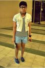 Blue-esprit-vest-black-hang-ten-shirt-blue-palomino-shorts-blue-thrift-sho