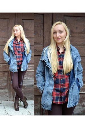 blue denim jacket Sheinside jacket - ruby red tartan Choies shirt - H&M pants