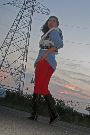 dark brown heaven boots - red diy kezava jeans - blue thats it cardigan
