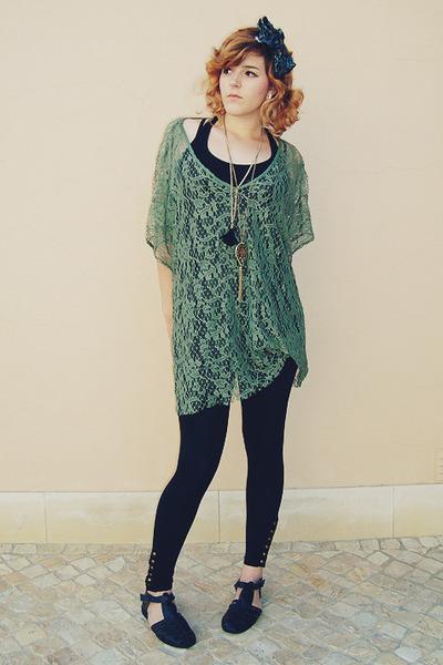 black Primark leggings - army green vintage scarf - green Primark top