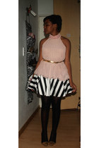 light pink worn as top Layered dress top - black Skater Skirt skirt
