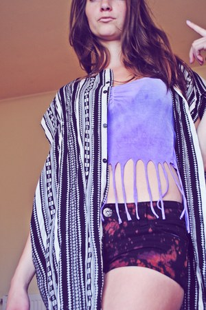light purple H&M top - black diy Heritage shorts - tribal boho vest
