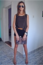 bronze leather Zara heels - black lace shorts - gold necklace - leather belt