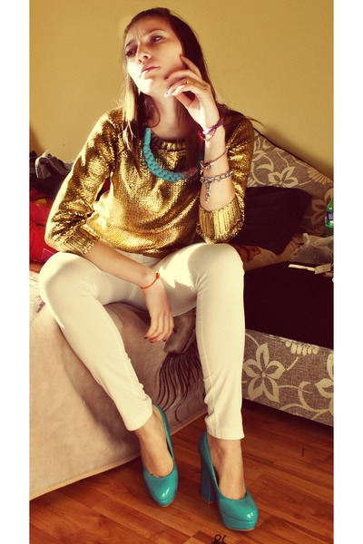 gold gold scales blouse - white simple jeans - turquoise blue diy necklace