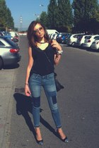 black Pimkie bag - navy H&M jeans - black Zara pumps - black top