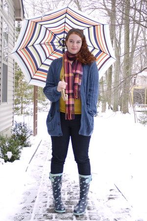 blue Whale boots - navy skinny She Said jeans - mustard Forever 21 shirt - blue