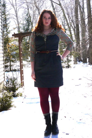 crimson Worthington tights - navy denim bustier I 3 Ronson dress