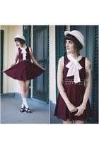 crimson vintage shoes - crimson free people dress - white vintage hat