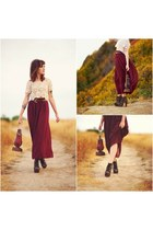 crimson American Apparel skirt - black tapestry lulus shoes