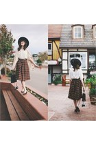 vintage hat - ferragamo shoes - vintage skirt - vintage top