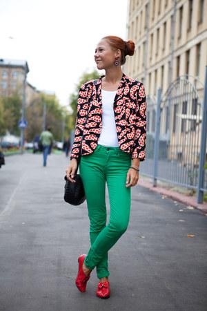 black Topshop jacket - black Topshop bag - green Zara pants
