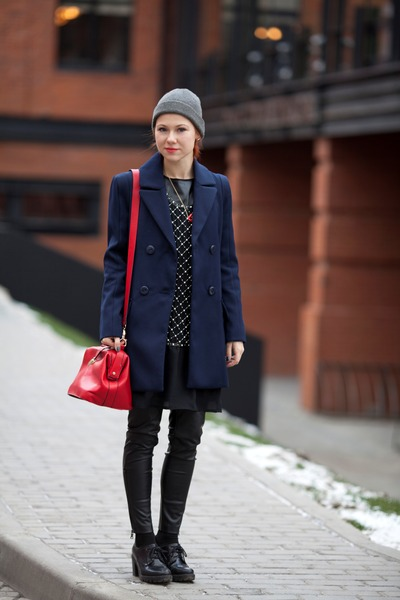 navy silvian heach coat - red silvian heach bag - black Gaudi pants