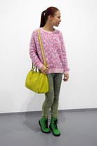 green H&M boots - yellow Furla bag - bubble gum meadham kirchhoff jumper