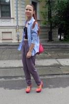 sky blue Zara shirt - salmon Jessica Simpson heels