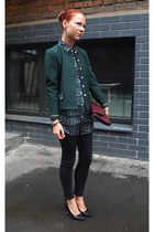 black Topshop jeans - dark green Topman blouse
