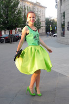 green Adidas NEO Label top - chartreuse Chicwish skirt