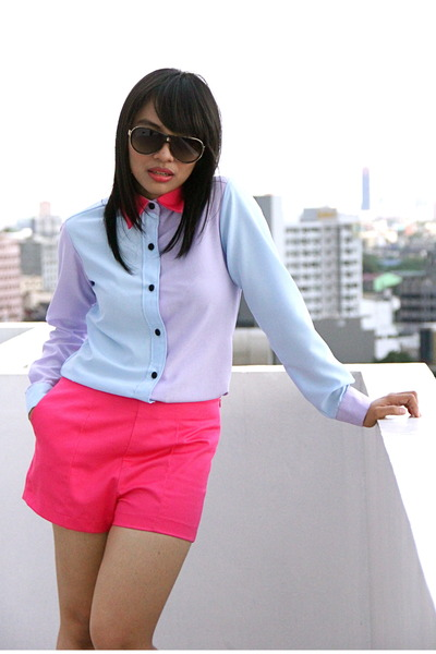 hot pink Kill Me Baby shorts - periwinkle Kill Me Baby top