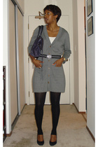 gray v-neck cardigan banana republic sweater - black suede pumps Prada shoes