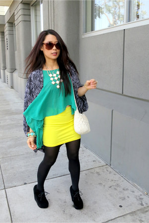 yellow H&amp;M skirt - white H&amp;M bag - brown Electric sunglasses - black wedges