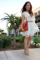 white ruffles Sugarlips dress - carrot orange luluscom bag