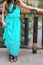 Aquamarine-chiffon-dress-black-cutout-material-girl-wedges