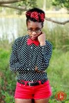 red denim shorts Forever 21 shorts - red chiffon asos scarf