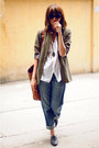 Olive-green-forever-21-blazer-brown-h-m-bag-black-aldo-flats