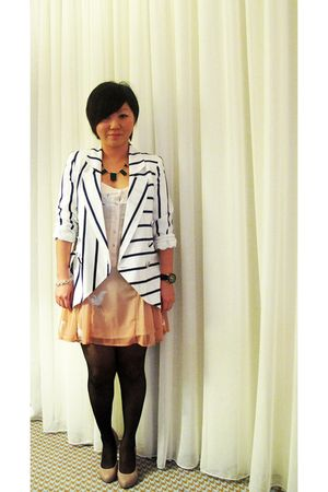 white Sportsgirl blazer - orange Sportsgirl dress - beige RMK shoes - black Hous