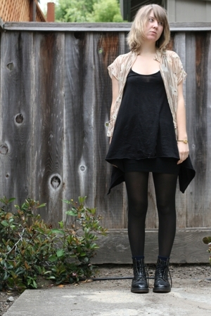 Silence  Noise top - American Apparel tights - Lux blouse - Dr Martens boots - v