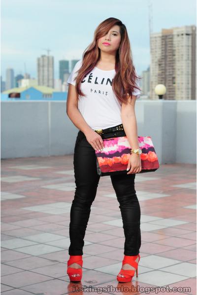 carrot orange Zara heels - black faux leather Zara pants