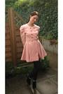 Black-studded-deichmann-boots-light-pink-romwe-coat