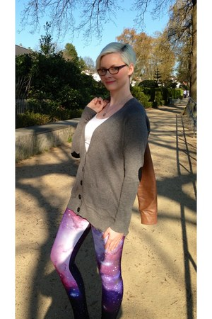 amethyst romwe leggings - heather gray asos cardigan