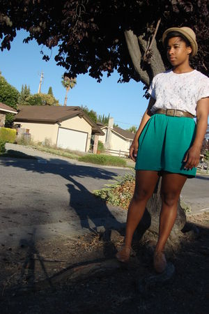 white thrifted shirt - green thrifted skirt - brown Forever 21 shoes - beige Tar