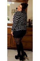 Jeffrey Campbell heels - none tights - Target cardigan - vintage blouse