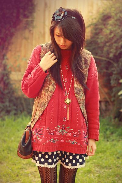 pink vintage sweater - blue vintage dress - brown vintage vest - brown vintage a