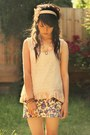 floral vintage skirt - light pink lace cotton on top